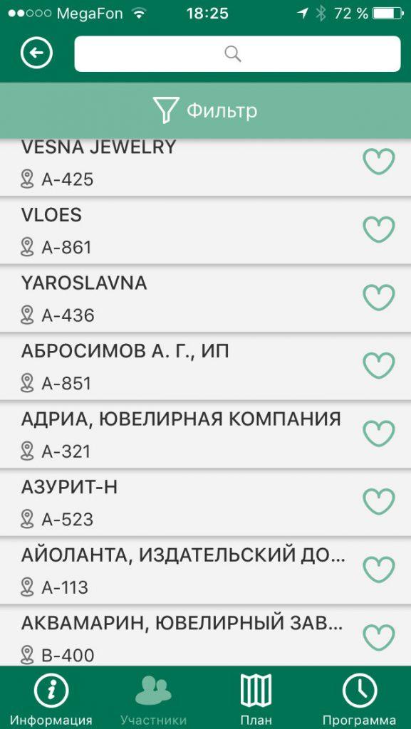 """Мобильное приложение """"JUNWEX"""" список участников"""